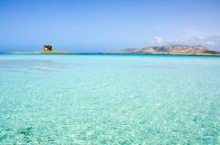La Pelosa Stintino - costa bonita de sardinia no norte Fotografia de Stock Royalty Free