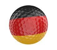 La pelota de golf 3D rinde con la bandera de Alemania, aislada en blanco Foto de archivo libre de regalías