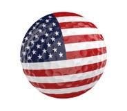 La pelota de golf 3D rinde con la bandera de Estados Unidos, aislada en blanco Foto de archivo