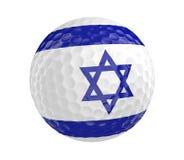 La pelota de golf 3D rinde con la bandera de Israel, aislada en blanco Foto de archivo libre de regalías