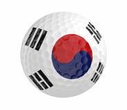 La pelota de golf 3D rinde con la bandera de la Corea del Sur, aislada en blanco Imagenes de archivo