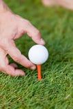 La pelota de golf y el hierro en hierba verde detallan macro Imagenes de archivo