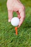 La pelota de golf y el hierro en hierba verde detallan macro Foto de archivo