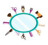 La peluquería equipa el fondo plano del espejo Fotos de archivo