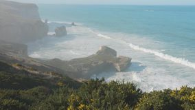 La península de Nueva Zelanda que revela Otago hace un túnel paisaje del mar de la playa metrajes
