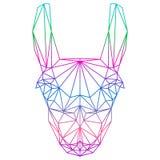 La pendiente abstracta poligonal coloreó la silueta de la llama dibujada en una línea continua aislada en el fondo blanco libre illustration