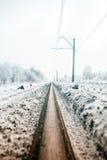 La pendiente colorize el ferrocarril en el bosque del invierno foto de archivo