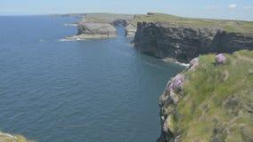 La penisola della testa di ciclo, Clare ad ovest, Irlanda che mostra le rocce e le scogliere ha scolpito dall'Oceano Atlantico It video d archivio