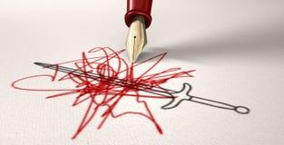 La penna è più vigorosa della spada Immagine Stock Libera da Diritti