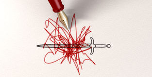 La penna è più vigorosa della spada Immagini Stock Libere da Diritti