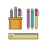 La penna e le matite, illustrazione di vettore del righello hanno messo su bianco Fotografie Stock Libere da Diritti