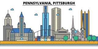 La Pennsylvanie, Pittsburgh Horizon de ville illustration stock