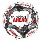 La pensée en avant de la pensée de mots opacifie l'anticipation Proact de planification illustration stock