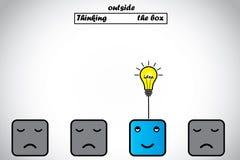 La pensée professionnelle heureuse en dehors de la boîte a l'idée d'ampoule Photographie stock libre de droits
