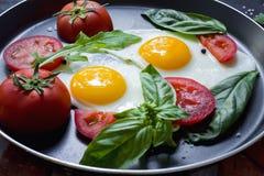 La pentola delle uova fritte, il basilico ed i pomodori con pane sulla tavola metallica di lerciume sorgono Immagine Stock