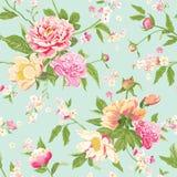 La peonia d'annata fiorisce il fondo Fotografie Stock