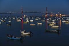Boats Anchored at Cadiz Bay at Night royalty free stock photos