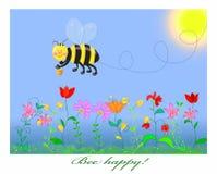 La pequeña abeja está volando sobre el campo vernal ilustración del vector