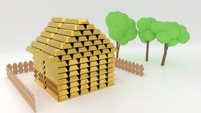 La pequeña casa de la historieta hecha de la pila de barras de oro con una cerca y los árboles simbolizan riqueza y valor de una  stock de ilustración