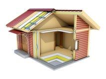 La pequeña casa de marco en corte ilustración 3D Imágenes de archivo libres de regalías