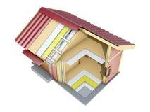 La pequeña casa de marco en corte ilustración 3D Foto de archivo