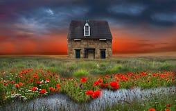 La pequeña casa marrón Fotos de archivo libres de regalías
