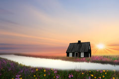 La pequeña casa negra Imagenes de archivo