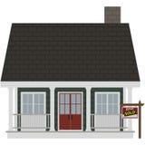 La pequeña casa verde para la venta vendió el ejemplo stock de ilustración