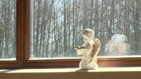 La pequeña estatua del ángel ruega con el libro en el travesaño de la ventana iluminado por el sol con el sol metrajes