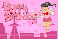 La pequeña heroína trae la torta de cumpleaños Fotografía de archivo libre de regalías