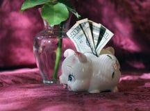 La pequeña hucha con veinte dólares y un hermoso subió en el fondo Fotografía de archivo libre de regalías