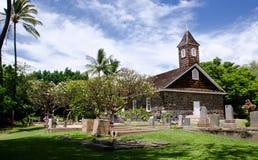 La pequeña iglesia de la lava celebra Pascua, Makena, Maui, Hawaii Imagen de archivo