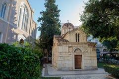 La pequeña metrópoli en Atenas fotos de archivo