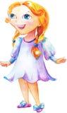 La pequeña muchacha feliz stock de ilustración