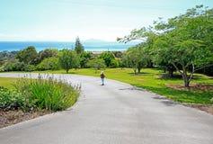 La pequeña muchacha rubia está dando un paseo a lo largo del jardín de Aurora Lodge en Waipu imágenes de archivo libres de regalías