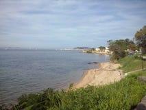 La pequeña playa en Saint Tropez Fotografía de archivo libre de regalías