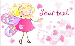 La pequeña princesa con los corazones ilustración del vector