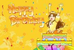 La pequeña princesa surge de la torta de cumpleaños Imágenes de archivo libres de regalías