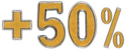 La percentuale avvantaggia, più 50 cinquanta per cento, i numeri isolati su wh Immagine Stock