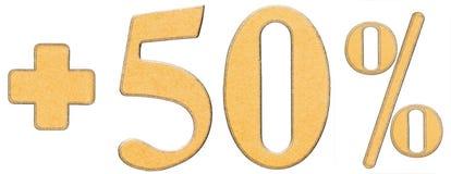 La percentuale avvantaggia, più 50 cinquanta per cento, i numeri isolati su wh Fotografia Stock