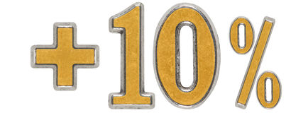 La percentuale avvantaggia, più 10 dieci per cento, i numeri isolati su briciolo Fotografia Stock Libera da Diritti