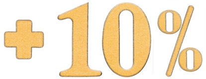La percentuale avvantaggia, più 10 dieci per cento, i numeri isolati su briciolo Immagine Stock Libera da Diritti