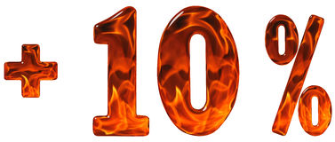 La percentuale avvantaggia, più 10, dieci per cento, numeri isolati sul whi Fotografia Stock