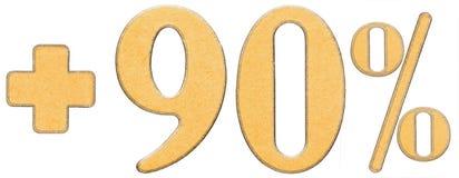 La percentuale avvantaggia, più 90 novanta per cento, i numeri isolati su w Fotografia Stock Libera da Diritti