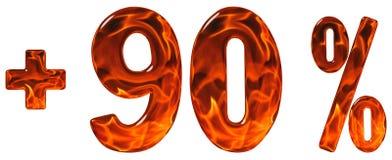 La percentuale avvantaggia, più 90, novanta per cento, numeri isolati sopra Fotografia Stock