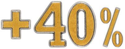 La percentuale avvantaggia, più 40 quaranta per cento, i numeri isolati su wh Immagini Stock Libere da Diritti