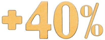 La percentuale avvantaggia, più 40 quaranta per cento, i numeri isolati su wh immagine stock