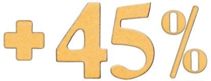 La percentuale avvantaggia, più 45 quarantacinque per cento, i numeri isolati Fotografia Stock