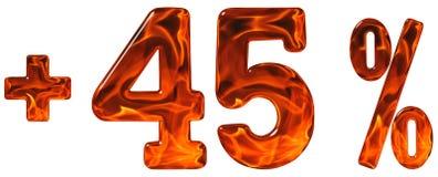 La percentuale avvantaggia, più 45, quarantacinque per cento, numeri isolati Immagine Stock Libera da Diritti