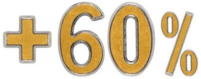 La percentuale avvantaggia, più 60 sessanta per cento, i numeri isolati su wh Fotografia Stock Libera da Diritti